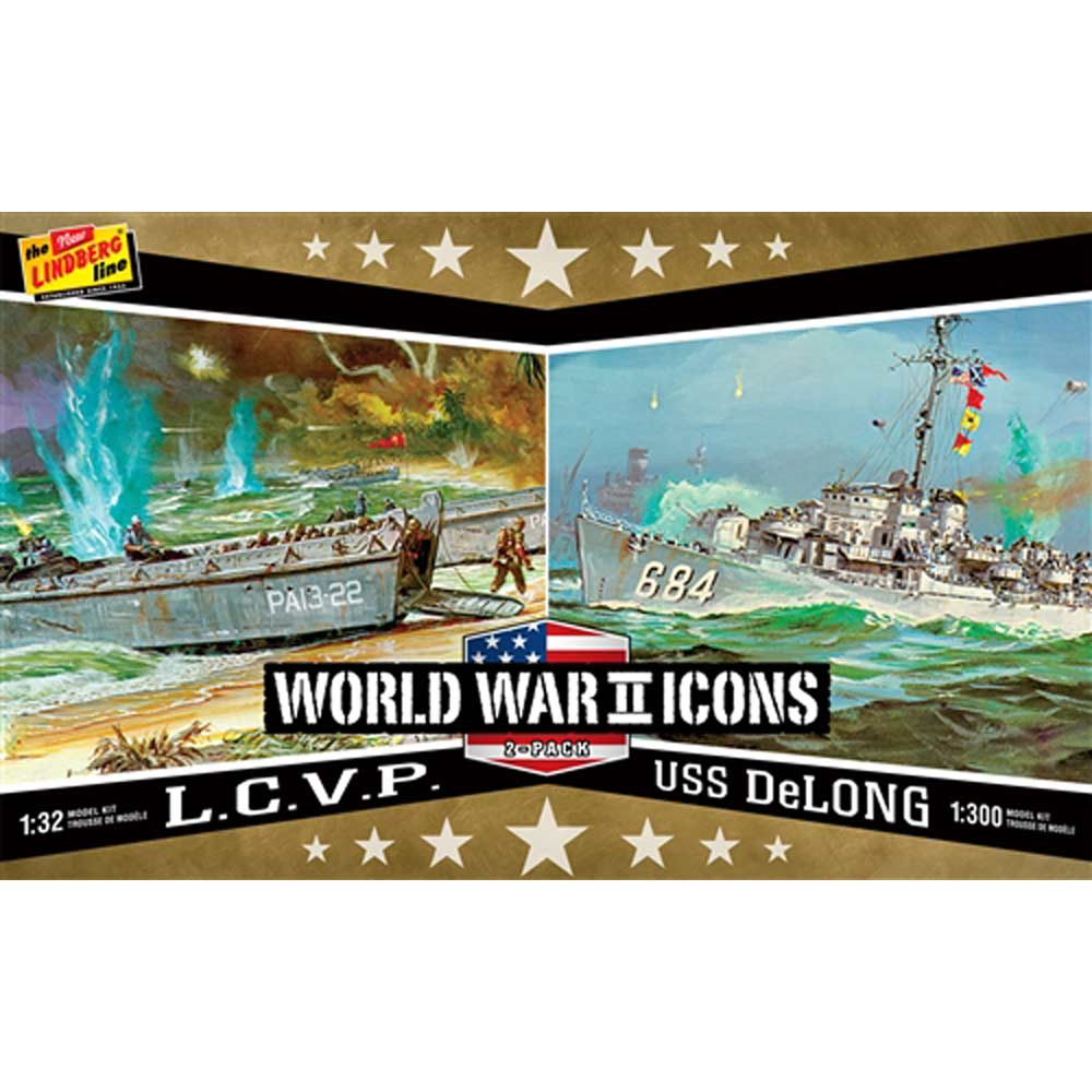 リンドバーグ 1/32 WW.II アメリカ軍 上陸用舟艇 L.C.V.P.& 1/300 U.S.S.デ・ロング