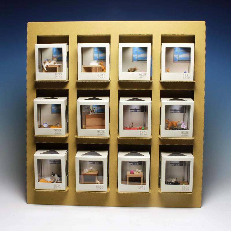 プラッツ 1/12 ネコのいる空間 みにちゅアニマル 洋室の情景 コンプリートセット(12種各1個+クラフト什器+みにちゅアニマルロゴパネル)