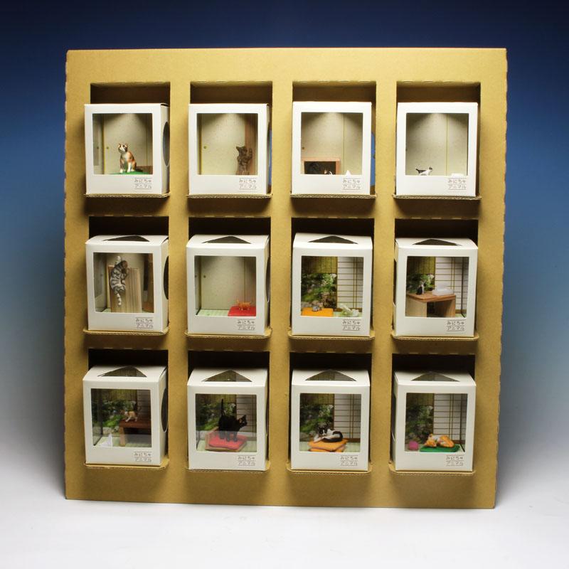 プラッツ 1/12 ネコのいる空間 みにちゅアニマル 和室の情景 コンプリートセット(12種各1個+クラフト什器+みにちゅアニマルロゴパネル)