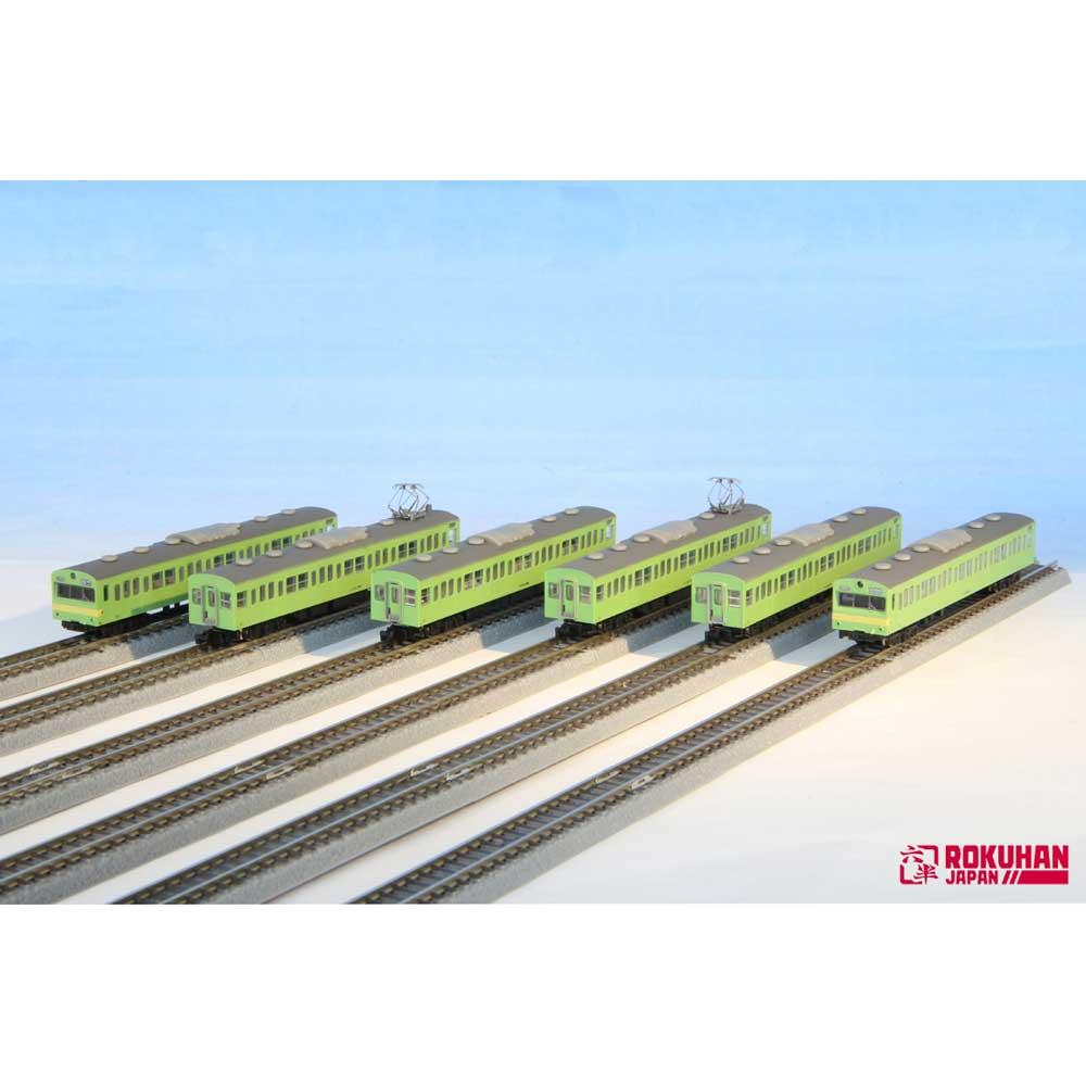 ロクハン Zゲージ 国鉄103系 ウグイス・警戒色 関西線タイプ 6両セット