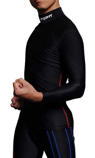★自転車のインナー 筋肉疲労を軽減 スポーツウェア FIXFIT MAX【品番:ACW-X03 ロング ハイネック】コンプレッション 加圧インナー サポート 長袖 メンズ レディース アンダーウェア 日本製 ロードバイク トレーニング サイクリング ロットNo:0316C