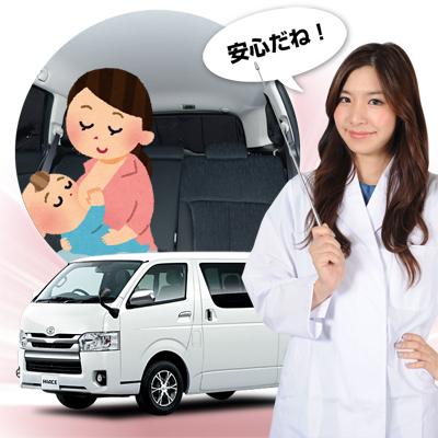 【車で授乳】チャイルドシートと併用で赤ちゃんも安心!子育てママが授乳に推奨!ベビー服の着替え 離乳食の食事 おむつ交換やおしりふき、ねんねにも活躍!高品質の日本製 ハイエース200系 S-GL DX標準ボディー5ドア カーテン不要 遮光防水プライバシーサンシェード リア用