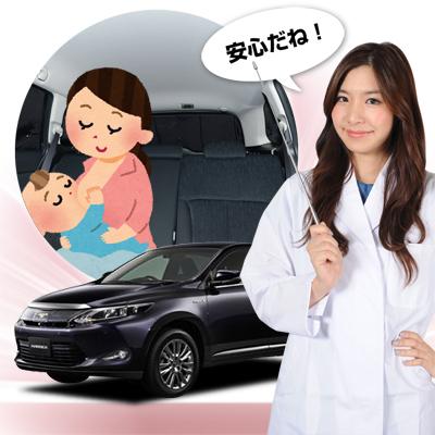 【車で授乳】ベビーカーと合わせて購入、とっても便利!子育てママが授乳に推奨!ベビー服の着替え 離乳食の食事 おむつ交換やおしりふき、ねんねにも活躍!高品質の日本製! 新型 ハリアー 60系 ハイブリッド対応 カーテン不要遮光防水プライバシーサンシェード リア用