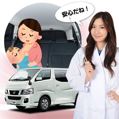 【車で授乳】ベビーカーと合わせて購入、とっても便利!子育てママが授乳に推奨!ベビー服の着替え 離乳食の食事 おむつ交換やおしりふき、ねんねにも活躍!高品質の日本製! 新型 キャラバン NV350 カーテン不要遮光防水プライバシーサンシェード リア用