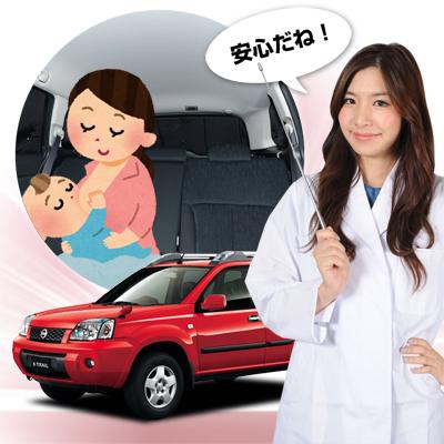 【車で授乳】チャイルドシートと併用で赤ちゃんも安心!子育てママが授乳に推奨!ベビー服の着替え 離乳食の食事 おむつ交換やおしりふき、ねんねにも活躍!高品質の日本製! エクストレイル T31系 カーテン不要 遮光防水プライバシーサンシェード リア用