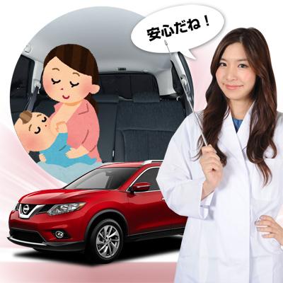 【車で授乳】ベビーカーと合わせて購入、とっても便利!子育てママが授乳に推奨!ベビー服の着替え 離乳食の食事 おむつ交換やおしりふき、ねんねにも活躍!高品質の日本製! 新型 エクストレイル T32系 カーテン不要遮光防水プライバシーサンシェード リア用
