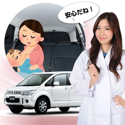 【車で授乳】チャイルドシートと合わせて使うと赤ちゃんも安心!授乳する子育てママが推奨!ベビー服の着替え、離乳食のお食事、おむつ交換やおしりふき、ねんねにも活躍!高品質の日本製! デリカD5 D:5 カーテンいらず遮光防水プライバシーサンシェード リア用