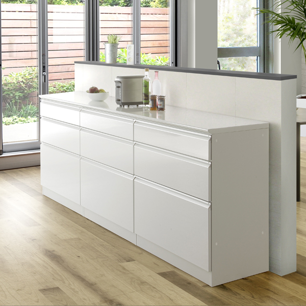 キッチン収納 幅220 高さ90 ロータイプ 下台のみ キッチンカウンター 食器棚 引き出し レンジ台 木製 日本製 ハイグロス クリーンイーゴス