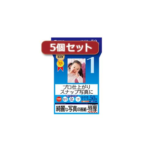 無料サンプルOK 5個セットインクジェット写真印画紙 特厚 限定品 JP-EP2NHKX5 sanwa AS パソコン オフィス用品