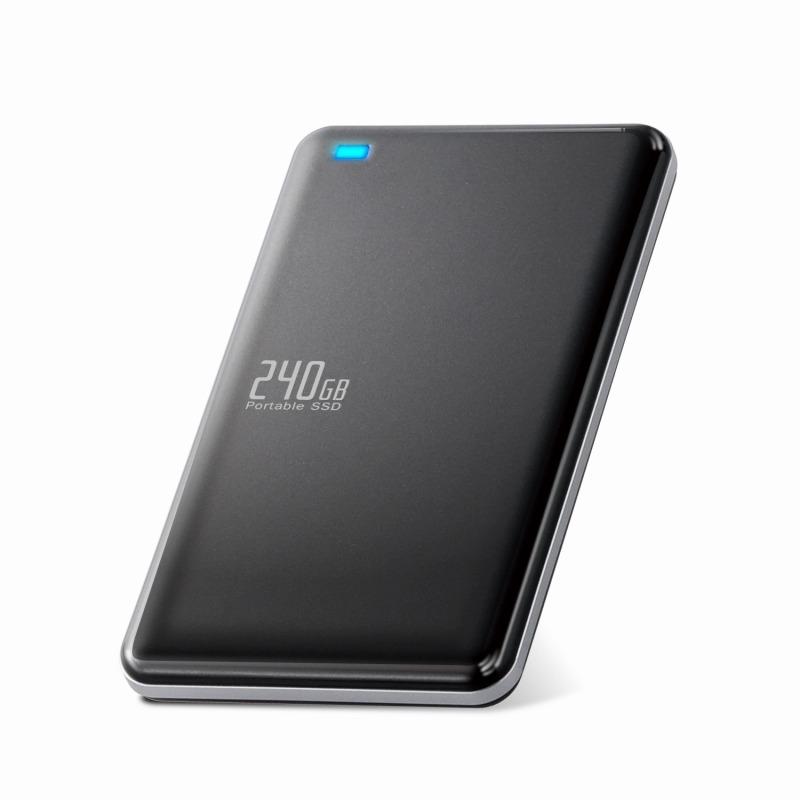 [エレコム] 外付けSSD ポータブル 240GB USB3.0 USB3.1(Gen1) TLC 小型 軽量 名刺サイズ ブラック ESD-ED0240GBK[▲][EL]
