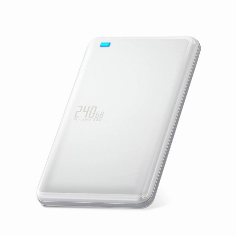 [エレコム] 外付けSSD ポータブル 240GB USB3.0 USB3.1(Gen1) TLC 小型 軽量 名刺サイズ ホワイト ESD-ED0240GWH[▲][EL]