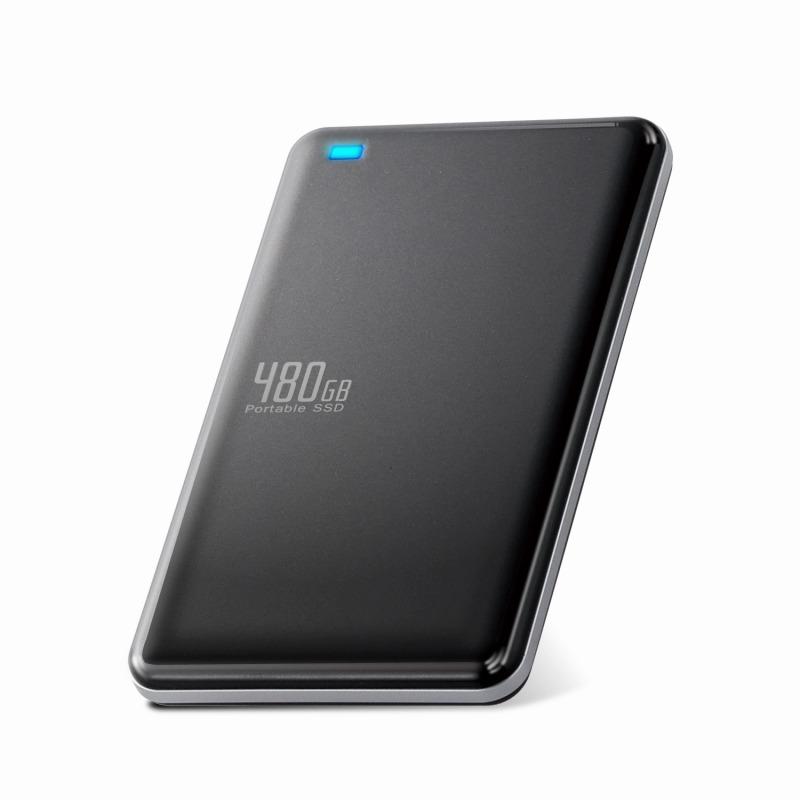 [エレコム] 外付けSSD ポータブル 480GB USB3.0 USB3.1(Gen1) TLC 小型 軽量 名刺サイズ ブラック ESD-ED0480GBK[▲][EL]
