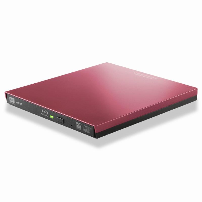 [エレコム]ロジテック BD ブルーレイドライブ 外付け ポータブル USB3.0 Microsoft Surface対応 再生・編集ソフト付 USBType-Cコネクタ付 レッド LBD-PVA6UCVRD[▲][EL]