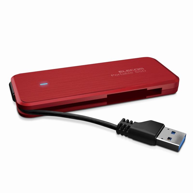 [エレコム] 外付けSSD 240GB USB3.1(Gen1)対応 TLC ケーブル収納 レッド ESD-EC0240GRD[▲][EL]