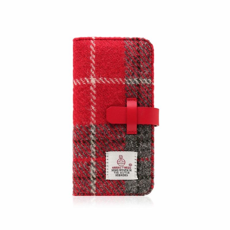 【SLG Design(エスエルジーデザイン)】手帳型スマホケース iPhone XS / X Harris Tweed Diary レッド×グレー スマートフォンケース スマホケース 手帳型ケース[▲][R]