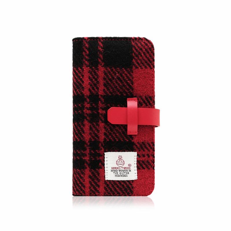 【SLG Design(エスエルジーデザイン)】手帳型スマホケース iPhone XS / X Harris Tweed Diary レッド×ブラック スマートフォンケース スマホケース 手帳型ケース[▲][R]