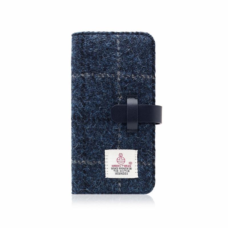 【SLG Design(エスエルジーデザイン)】手帳型スマホケース iPhone XS / X Harris Tweed Diary ネイビー スマートフォンケース スマホケース 手帳型ケース[▲][R]