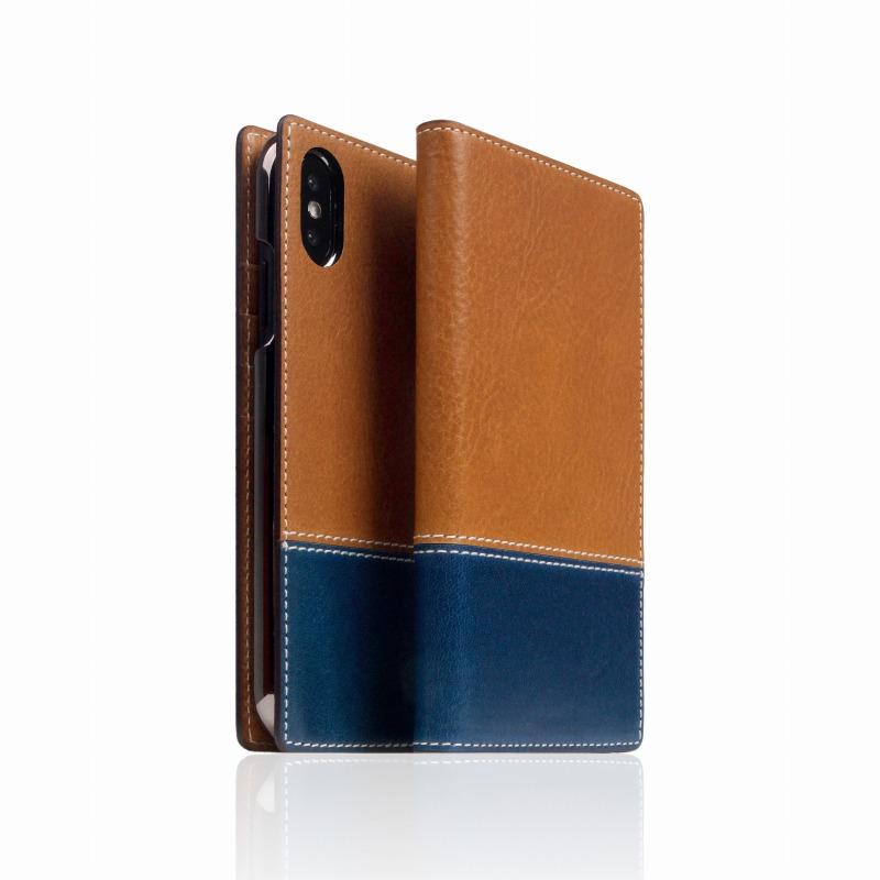 【SLG Design(エスエルジーデザイン)】手帳型スマホケース iPhone XS / X Tamponata Leather case タン X ブルー スマートフォンケース スマホケース 手帳型ケース[▲][R]