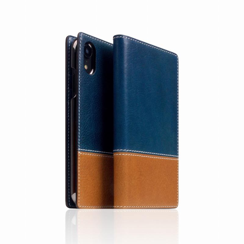 【SLG Design(エスエルジーデザイン)】手帳型スマホケース iPhone XR Tampomata Leather case ブルー X タン スマートフォンケース スマホケース 手帳型ケース[▲][R]