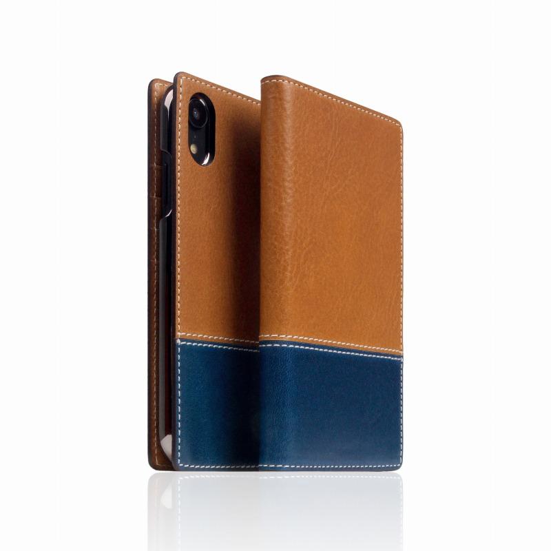 【SLG Design(エスエルジーデザイン)】手帳型スマホケース iPhone XR Tampomata Leather case タン X ブルー スマートフォンケース スマホケース 手帳型ケース[▲][R]