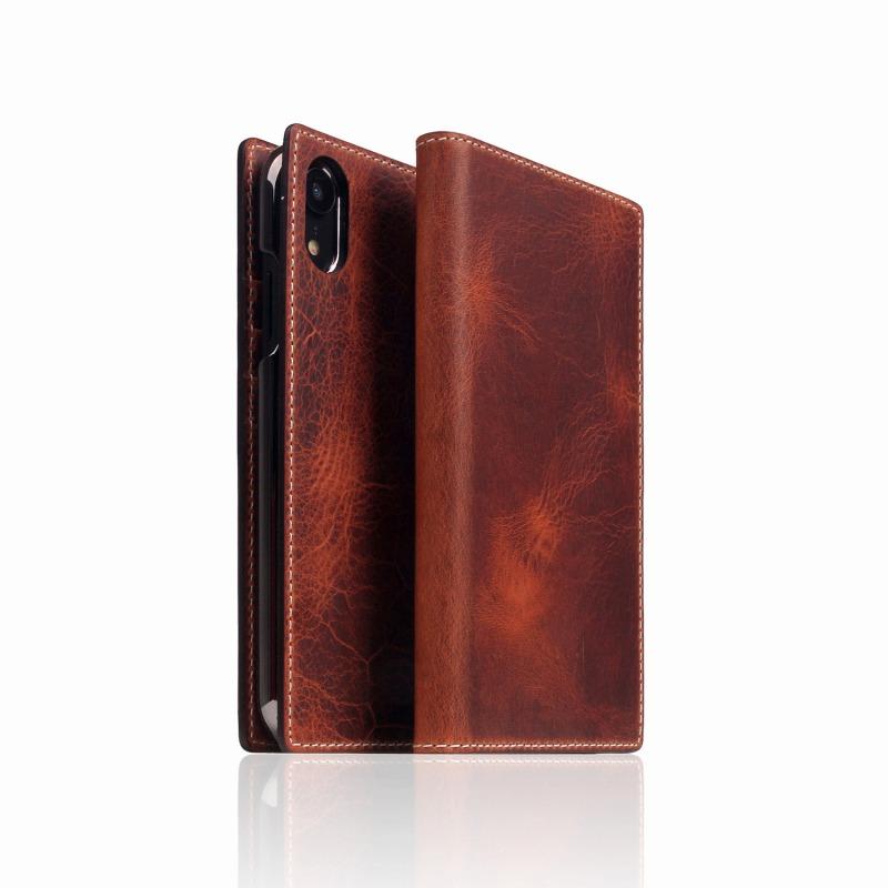 【SLG Design(エスエルジーデザイン)】手帳型スマホケース iPhone XR Badalassi Wax case ブラウン スマートフォンケース スマホケース 手帳型ケース[▲][R]