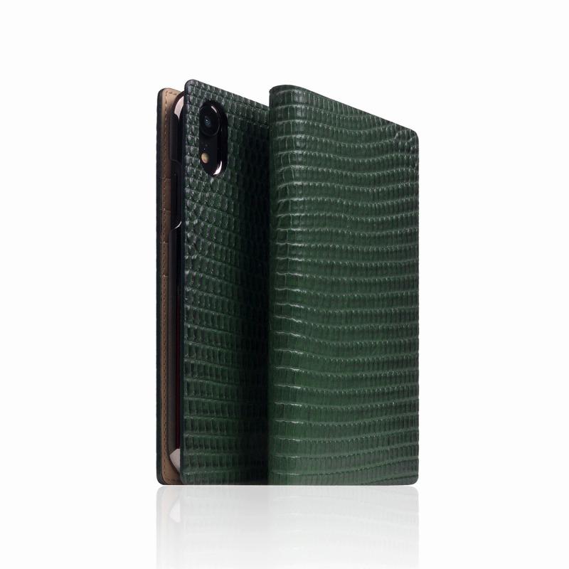 【SLG Design(エスエルジーデザイン)】手帳型スマホケース iPhone XR Lizard Case グリーン スマートフォンケース スマホケース 手帳型ケース[▲][R]