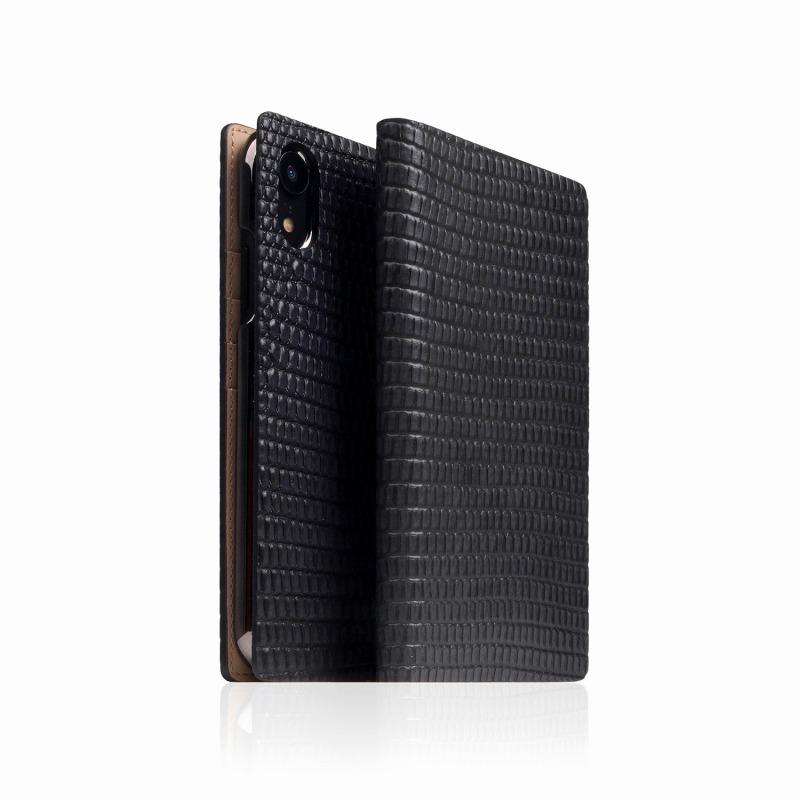 【SLG Design(エスエルジーデザイン)】手帳型スマホケース iPhone XR Lizard Case ブラック スマートフォンケース スマホケース 手帳型ケース[▲][R]