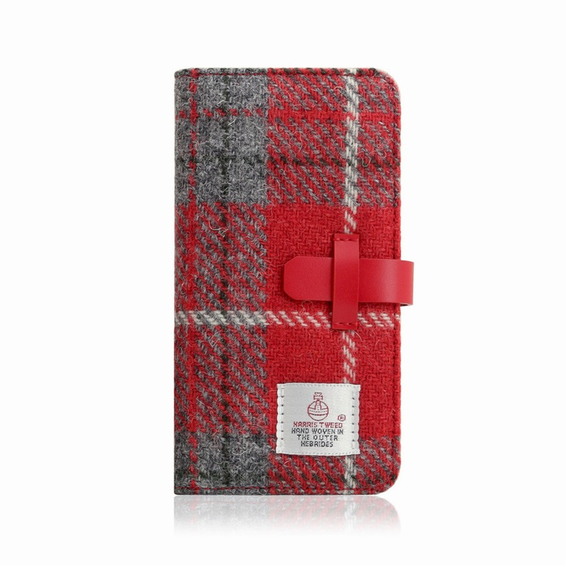 【SLG Design(エスエルジーデザイン)】手帳型スマホケース iPhone XR Harris Tweed Diary レッド×グレー スマートフォンケース スマホケース 手帳型ケース[▲][R]