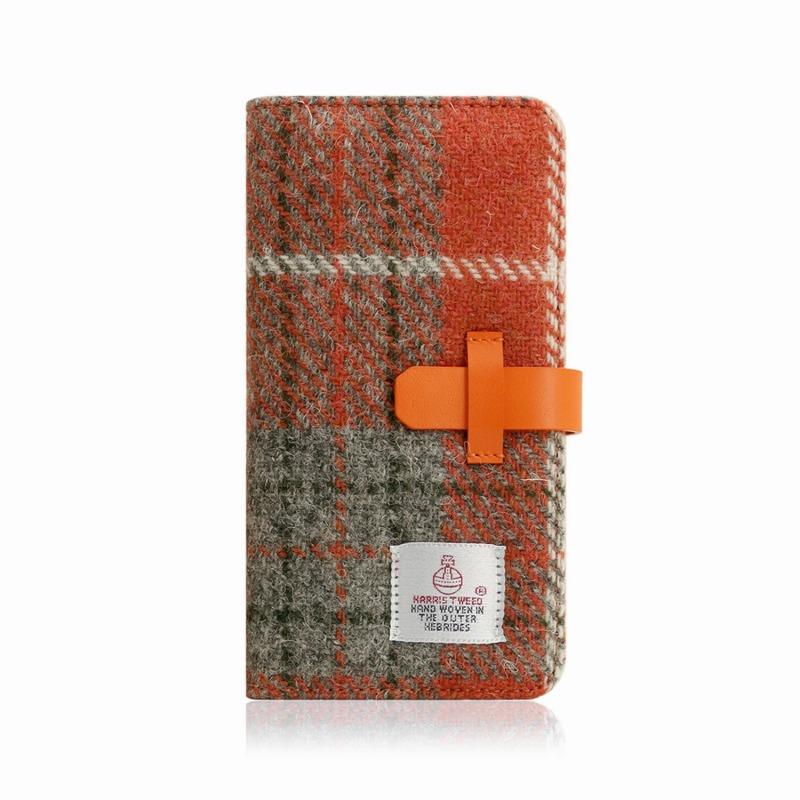 【SLG Design(エスエルジーデザイン)】手帳型スマホケース iPhone XR Harris Tweed Diary オレンジ×グレー スマートフォンケース スマホケース 手帳型ケース[▲][R]