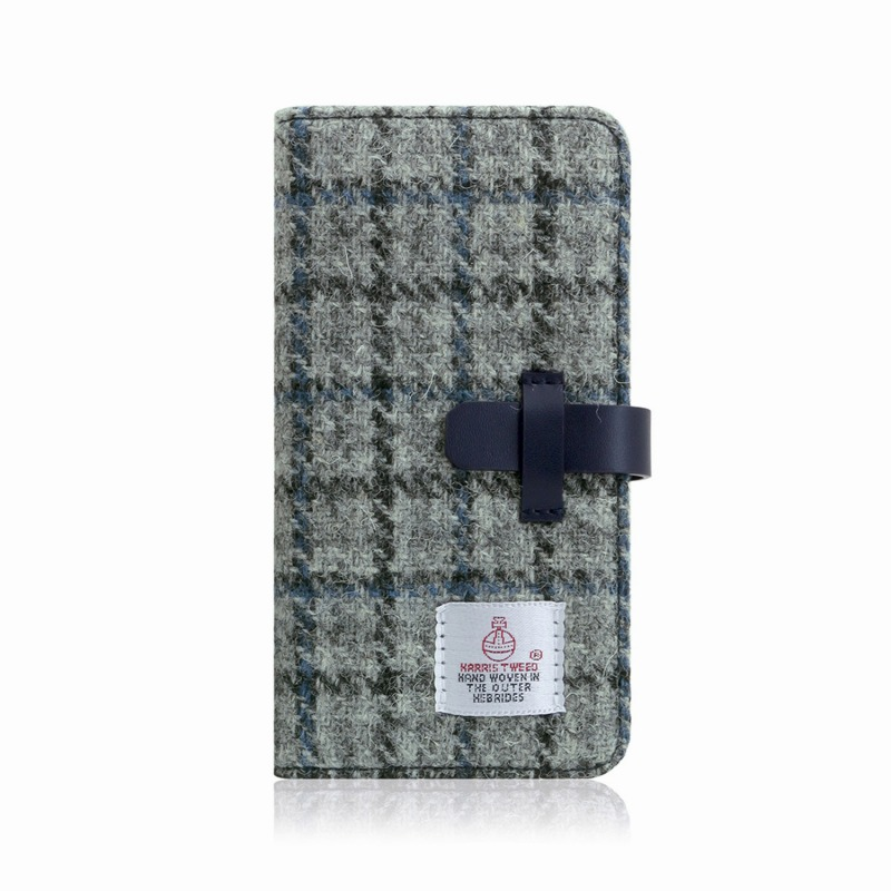 【SLG Design(エスエルジーデザイン)】手帳型スマホケース iPhone XR Harris Tweed Diary グレー×ネイビー スマートフォンケース スマホケース 手帳型ケース[▲][R]