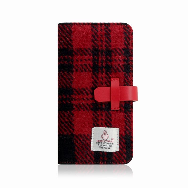 【SLG Design(エスエルジーデザイン)】手帳型スマホケース iPhone XR Harris Tweed Diary レッド×ブラック スマートフォンケース スマホケース 手帳型ケース[▲][R]