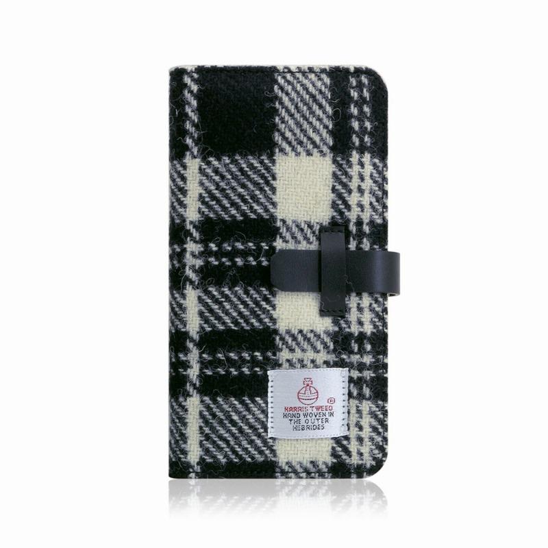 【SLG Design(エスエルジーデザイン)】手帳型スマホケース iPhone XR Harris Tweed Diary ホワイト×ブラック スマートフォンケース スマホケース 手帳型ケース[▲][R]