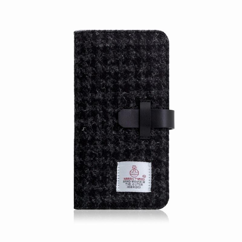【SLG Design(エスエルジーデザイン)】手帳型スマホケース iPhone XS Max Harris Tweed Diary ブラック スマートフォンケース スマホケース 手帳型ケース[▲][R]