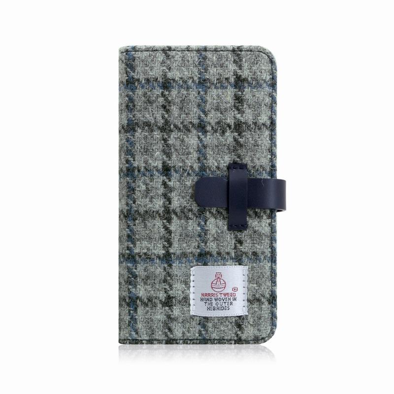 【SLG Design(エスエルジーデザイン)】手帳型スマホケース iPhone XS Max Harris Tweed Diary グレー×ネイビー スマートフォンケース スマホケース 手帳型ケース[▲][R]