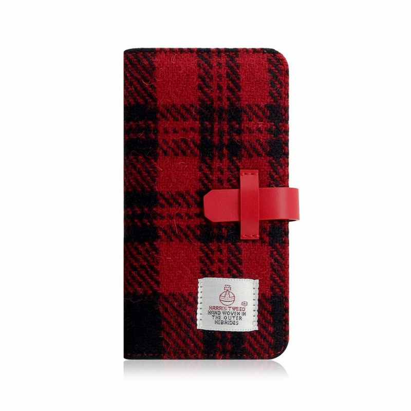 【SLG Design(エスエルジーデザイン)】手帳型スマホケース iPhone XS Max Harris Tweed Diary レッド×ブラック スマートフォンケース スマホケース 手帳型ケース[▲][R]