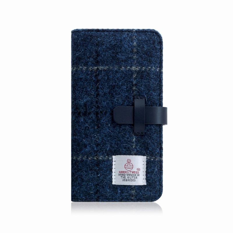 【SLG Design(エスエルジーデザイン)】手帳型スマホケース iPhone XS Max Harris Tweed Diary ネイビー スマートフォンケース スマホケース 手帳型ケース[▲][R]