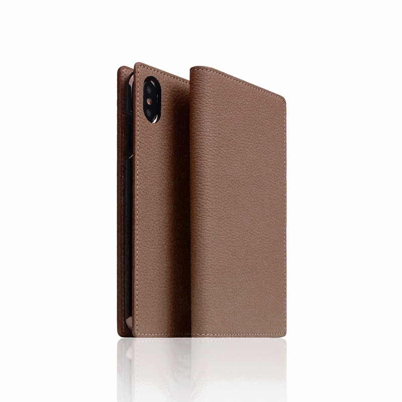 【SLG Design(エスエルジーデザイン)】手帳型スマホケース iPhone XS Max  Full Grain Leather Case etoffe Cream スマートフォンケース スマホケース 手帳型ケース[▲][R]