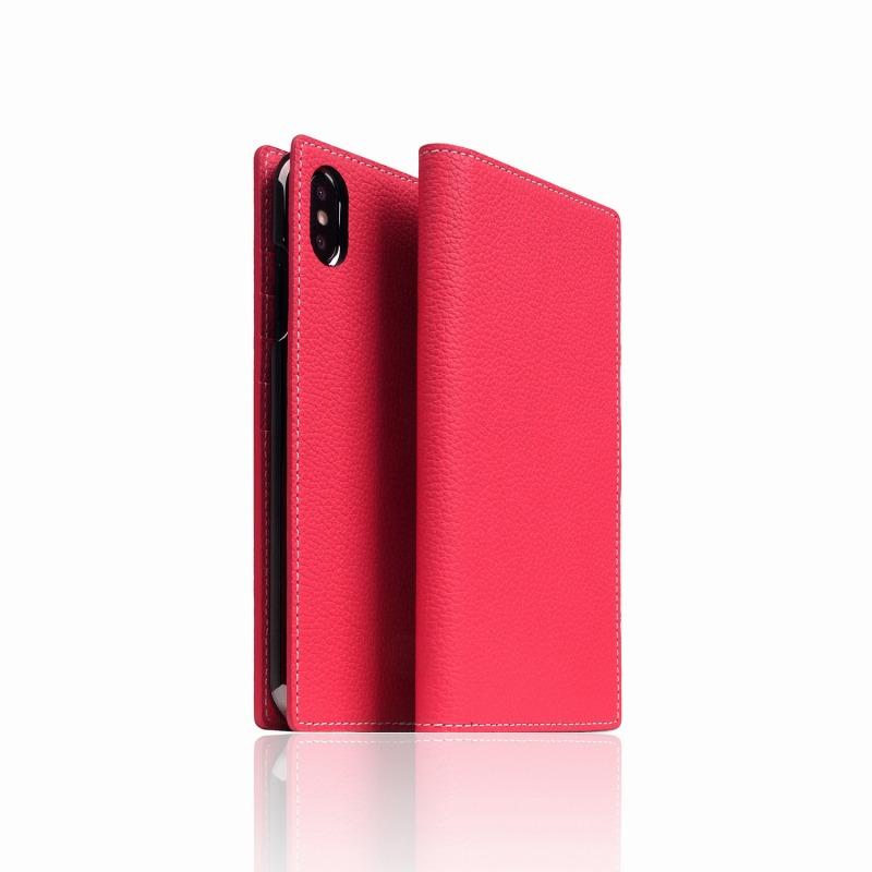 【SLG Design(エスエルジーデザイン)】手帳型スマホケース iPhone XS Max  Full Grain Leather Case Pink Rose スマートフォンケース スマホケース 手帳型ケース[▲][R]