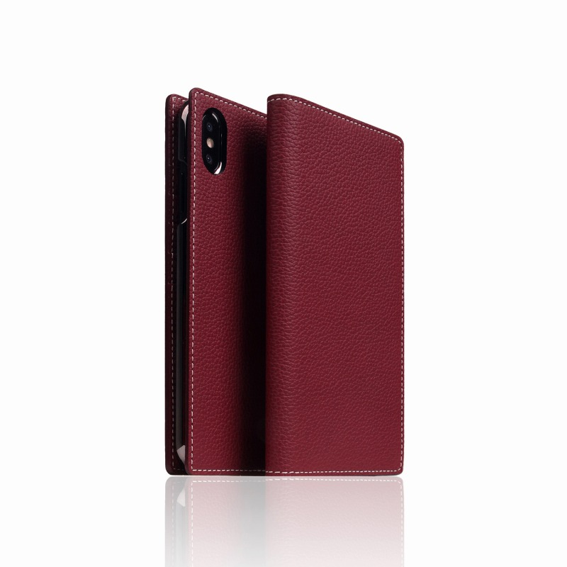 【SLG Design(エスエルジーデザイン)】手帳型スマホケース iPhone XS Max  Full Grain Leather Case Burgundy Rose スマートフォンケース スマホケース 手帳型ケース[▲][R]