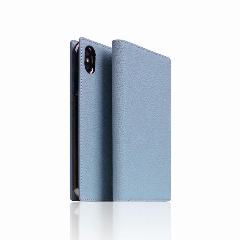 【SLG Design(エスエルジーデザイン)】手帳型スマホケース iPhone XS Max  Full Grain Leather Case Powder Blue スマートフォンケース スマホケース 手帳型ケース[▲][R]