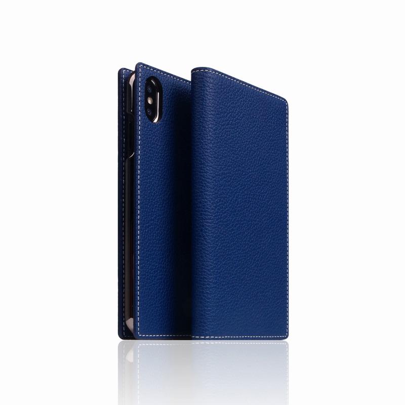 【SLG Design(エスエルジーデザイン)】手帳型スマホケース iPhone XS Max  Full Grain Leather Case Navy Blue スマートフォンケース スマホケース 手帳型ケース[▲][R]