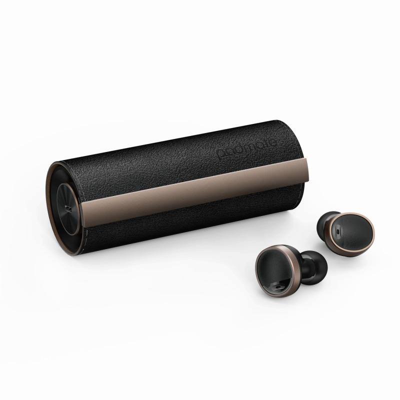 【Padmate】完全ワイヤレスイヤホン PaMuScroll Plus Black Leather+ワイヤレス充電レシーバー ワイヤレスイヤホン bluetoothイヤホン イヤホン[▲][R]