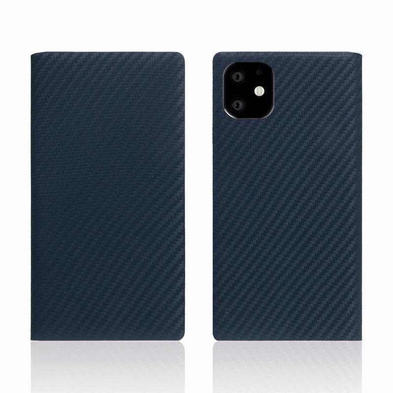 【SLG Design(エスエルジーデザイン)】iPhone 11 carbon leather case ネイビー スマートフォンケース スマホケース 手帳型ケース[▲][R]