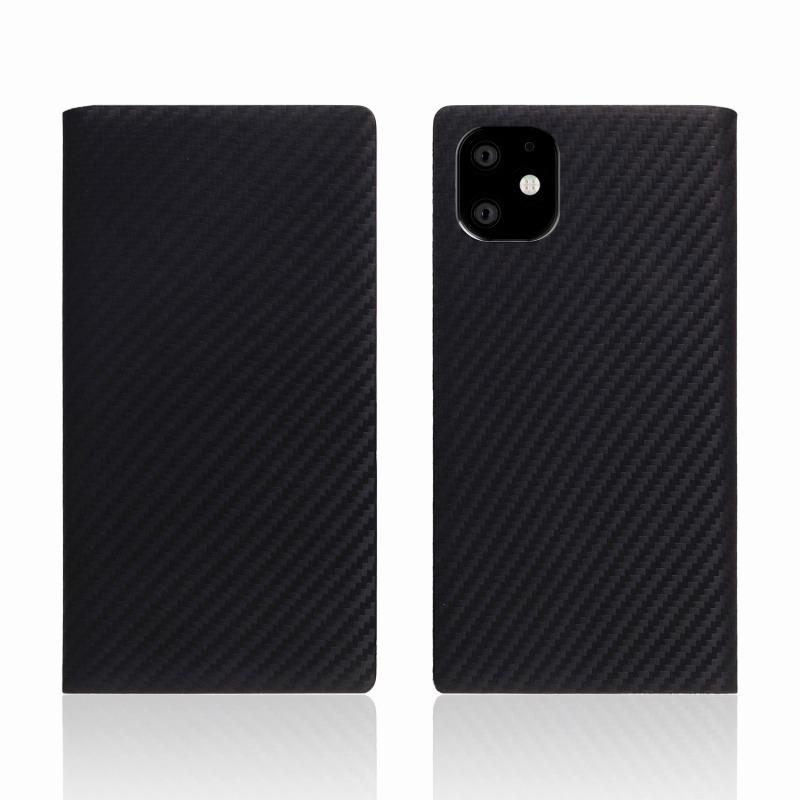 【SLG Design(エスエルジーデザイン)】iPhone 11 carbon leather case ブラック スマートフォンケース スマホケース 手帳型ケース[▲][R]