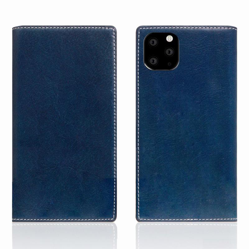 【SLG Design(エスエルジーデザイン)】iPhone 11 Pro Max Tamponata Leather case ブルー スマートフォンケース スマホケース 手帳型ケース[▲][R]