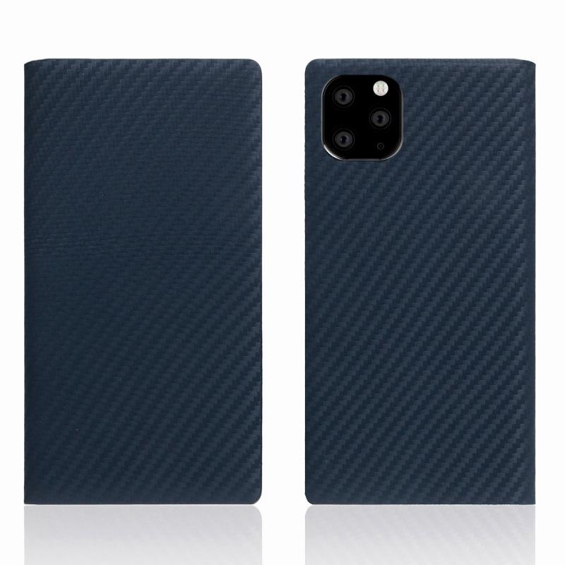 【SLG Design(エスエルジーデザイン)】iPhone 11 Pro Max carbon leather case ネイビー スマートフォンケース スマホケース 手帳型ケース[▲][R]