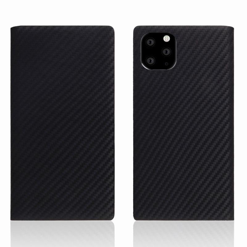 【SLG Design(エスエルジーデザイン)】iPhone 11 Pro Max carbon leather case ブラック スマートフォンケース スマホケース 手帳型ケース[▲][R]