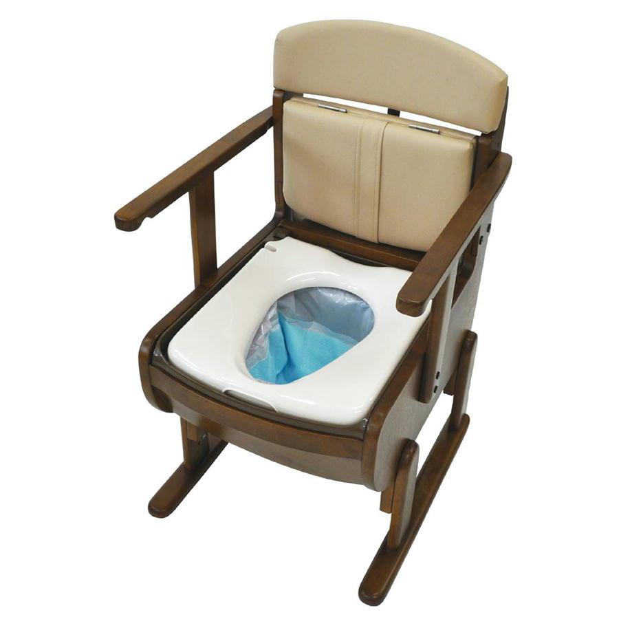 思いやり優花S ウェルファン 家具調ポータブルトイレ バケツを洗わなくていいトイレ