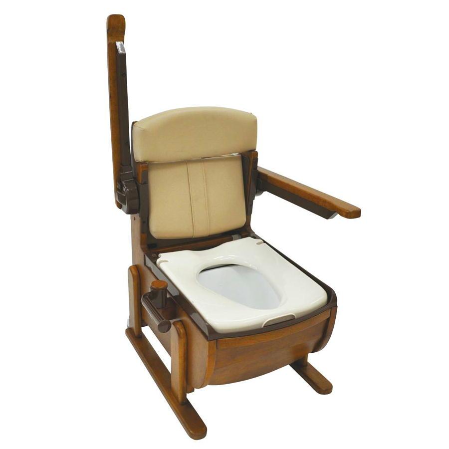 家具調ポータブルトイレ スリムレットEX 肘掛跳ね上げ 標準便座 ウェルファン 超コンパクトサイズ