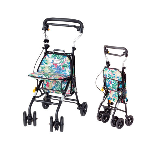 キュートミニW CM-FL フラワー ウィズワン コンパクトタイプ シルバーカー ショッピングカート 介護用品 シニア向け 高齢者